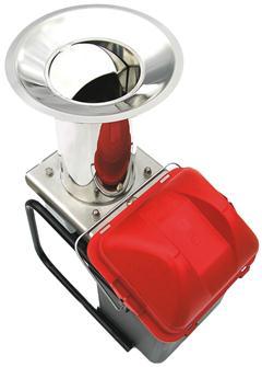 Elektrischer Obstmuser aus Edelstahl mit Behälter, 300 kg/Stunde.