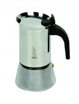 Italienische Kaffeemaschine aus Edelstahl für 4 Tassen