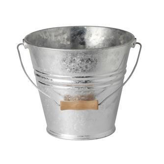 Feuerverzinkter Eimer, 10 Liter mit Henkel aus Holz