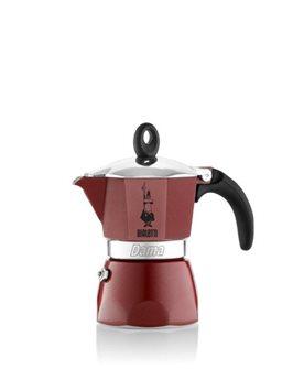 Italienischer Espressokocher, Aluminium, rot, 3 Tassen