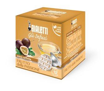 Box mit 12 Kapseln Bialetti Teemischung Passionsfrucht.