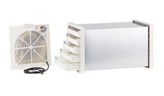 Dörrgerät aus Edelstahl mit Thermostat und 5 Kunststoffeinsätzen