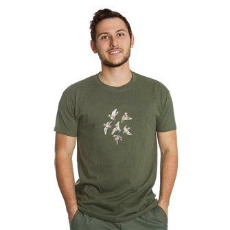 Tee shirt homme Bartavel Nature kaki sérigraphie 6 bécasses en vol M