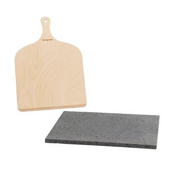 Plaque de cuisson réfractaire en pierre de lave avec pelle