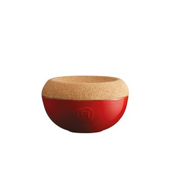 Pot à sel en céramique rouge Grand Cru Emile Henry couvercle liège