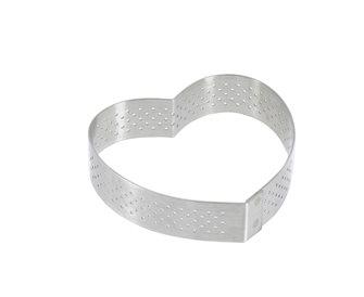 Cercle forme cœur inox 8 cm perforé  bord droit individuel